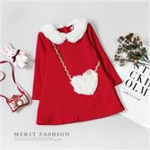 娃娃毛絨領愛心不倒絨A字洋裝 保暖 內刷毛 厚款 冬 過年 新年 女童 洋裝 女童上衣 連身裙 紅色