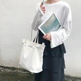 帆布包 白色大容量單肩帆布包簡約手提女包純色托特包大包包 巴黎春天
