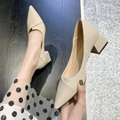 仙女鞋溫柔單鞋夏季女白色尖頭方跟配裙子粗跟尖頭晚晚風豆豆鞋子 pinkq時尚女裝