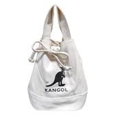 KANGOL 袋鼠米白色束口肩背側背包-NO.6925300701