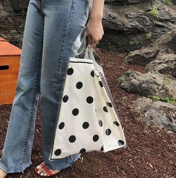 大包包女2019夏季新款韓版波點透明手提單肩果凍包帆布pvc托特包 森活雜貨