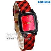 CASIO卡西歐 皮革混搭風情腕錶 女錶 菱格紅 LQ-142LB-4A LQ-142LB-4ADF