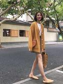 復古百搭單排扣短款毛衣外套女2018秋季韓版寬鬆顯瘦V領針織開衫