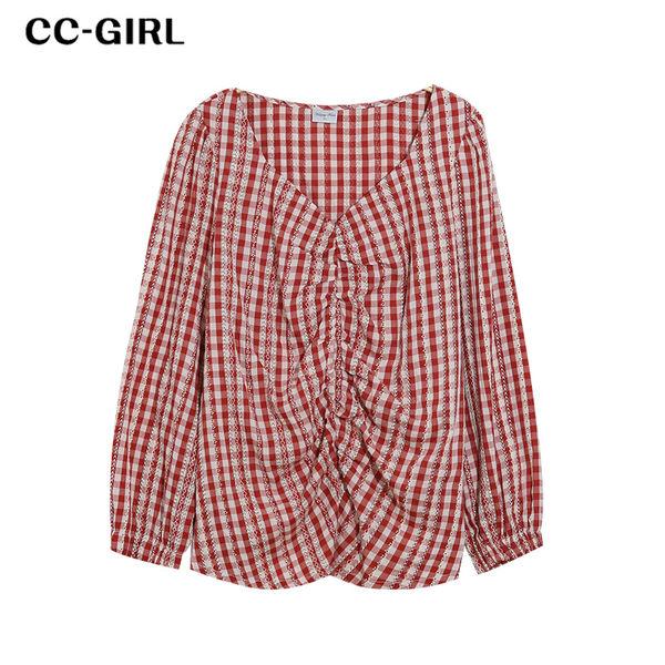 中大尺碼 碎花 印花格紋方領上衣~共三色 - 適XL~4L《 69041 》CC-GIRL