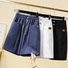 XL-5XL胖妹妹大碼牛仔五分褲松緊腰寬松彈力棉麻薄款大碼五分女褲胖MM韓版亞麻中褲3F124莎菲娜