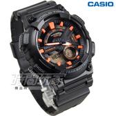 CASIO卡西歐 AEQ-110W-1A2 10年電力 悍將世界城市玩家雙顯電子運動錶 男錶 黑X橘 AEQ-110W-1A2VDF