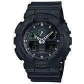 【CASIO】 G-SHOCK大錶面街頭時尚腕錶-黑x綠色液晶螢幕(GA-100MB-1A)