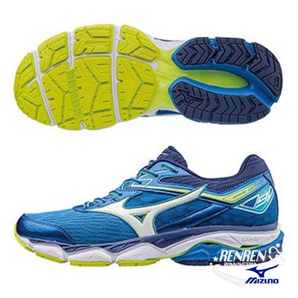 美津濃 MIZUNO 男慢跑鞋 WAVE ULTIMA 9 (藍X銀白) 高避震平行波浪片鞋款 J1GC170902【 胖媛的店 】