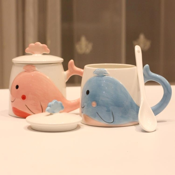 創意個性馬克杯帶蓋帶勺可愛潮流陶瓷杯清新簡約情侶卡通大肚杯子 橙子精品
