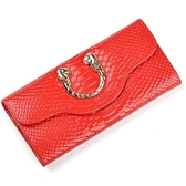 皮夾(長夾)-蛇紋時尚高貴獅子頭裝飾女零錢包5色73eb50[時尚巴黎]