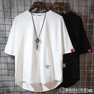 五分短袖t恤大碼2020新款純色半袖打底衫潮流男士ins寬鬆純棉 自由角落