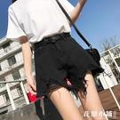 韓版新款高腰破洞毛邊黑色牛仔短褲女夏季學生寬鬆a字闊腿熱褲子