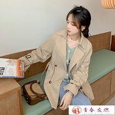 風衣外套 新款秋冬季卡其色中長版女大衣女短版小個子英倫風【快速出貨】