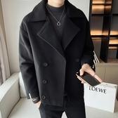 2020冬季新款青年短款毛呢大衣韓版潮流呢子外套帥氣男士毛呢風衣 快速出貨