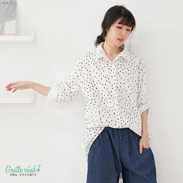 【Gentle wind】迷你三角印花長版襯衫-F 3659 FREE白色