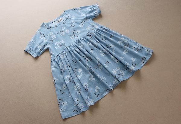 東京奈奈日系洋裝短袖印花棉麻洋裝[j15286]