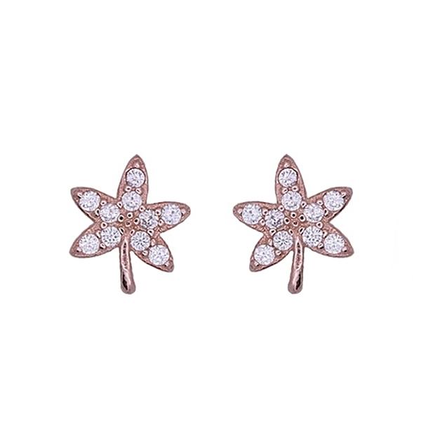 925純銀 楓葉麻葉 滿鑽天然白水晶 耳環耳針釘-銀、玫瑰金 防抗過敏