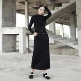 SIMPLE BLACK 暗黑風修身氣質款雙排扣裝飾背帶裙