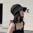 鴨舌帽日繫薄款夏季棉麻帽子女韓版潮貝雷八角帽黑色畫家帽遮陽鴨舌帽女 快速出貨