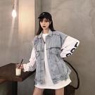 牛仔馬甲 工裝牛仔馬甲2021年春季新款馬夾外套女寬鬆潮流韓版無袖坎肩背心 爾碩