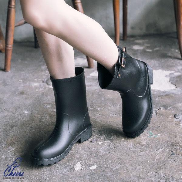 雨靴。Cheers*必備百搭金釦中高筒雨靴- 現貨【H905】