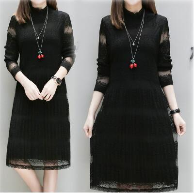 洋裝。中大尺碼百褶顯瘦中長款蕾絲打底洋裝連身裙禮服XL-5XL  韓依紡