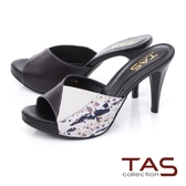 TAS撞色拼接高跟涼拖鞋-百搭黑