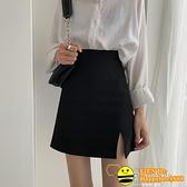 黑色顯瘦高腰半身裙女2020夏新款開叉a字短裙西裝包臀bm裙子學生【happybee】