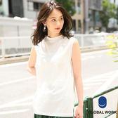 GLOBAL WORK女素色圓領側開叉純棉無袖長版上衣T恤-三色