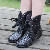 店長推薦▶新款時尚短筒女雨鞋韓國雨靴蝴蝶結系帶水靴可加棉絨雪地靴套鞋