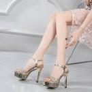 高跟涼鞋涼鞋女細跟防水台性感亮片一字扣帶金銀色婚鞋 【全館免運】