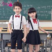 兒童禮服幼兒園畢業服表演背帶褲小學生大合唱男童女童演出服裝夏