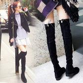 過膝長靴長筒靴子女新品新品平底百搭顯瘦高筒彈力女靴