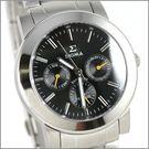 【萬年鐘錶】SIGMA 黑黃針 三眼時尚腕錶 8807M-1