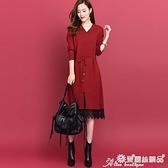 針織洋裝 2021春秋新款氣質淑女v領蕾絲針織連身裙系帶寬鬆毛衣裙中長款 愛麗絲