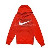 Nike 長袖T恤 NSW Swoosh Hoodie 橘紅 黑 男款 帽T 運動休閒 【PUMP306】 CJ4864-891