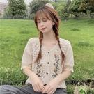 短袖罩衫-蕾絲復古繡花鏤空V領女外套2色74ab38[時尚巴黎]