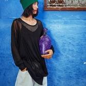 長袖T恤-透視時尚個性不規則下擺女上衣73qu26【巴黎精品】