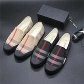 春夏季韓版帆布鞋男低筒格子休閒鞋透氣潮流繫帶單鞋青年板鞋   時尚芭莎鞋櫃
