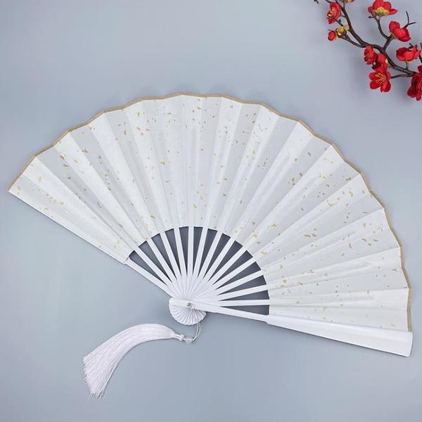山河令扇子10寸溫客行霸氣古風折扇灑金白色雙面絹布全烤漆竹扇子 怦然新品