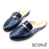 SCONA 蘇格南 全真皮 復古知性半包式懶人鞋 寶藍色 22602-2