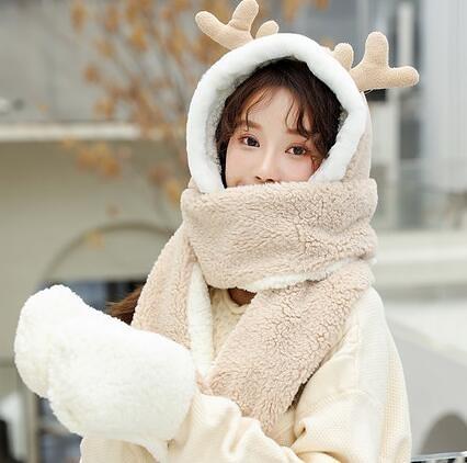 圍巾女 連帽毛絨圍巾女冬季可愛少女圣誕百搭韓版帽子圍脖一體冬手套小熊【快速出貨八折下殺】