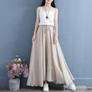 春季棉麻飄逸寬鬆大碼A字大擺半身裙女裙 文藝復古新款仙女中長裙 夏季新品