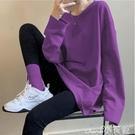 長款T恤 2021秋季紫色長袖t恤女裝寬鬆內搭中長款韓版打底衫百搭薄款上衣 小天使