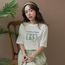 現貨-MIUSTAR 微笑梨與蘋果照鏡子膠印棉質上衣(共2色)【NJ1801】