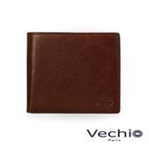 【VECHIO】經典商務男仕系列-4卡零錢袋皮夾(秋葉褐)VE041W06BR