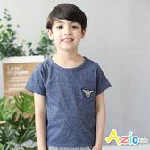 童裝 上衣 徽章單口袋短袖T恤(藍)