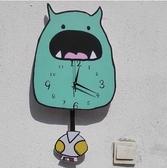 小怪獸掛鐘錶 童裝店靜音臥室兒童房幼兒園鐘錶創意掛錶