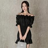 歐媛韓版 平口洋裝 夏季女裝修身性感一字領氣質小香風包臀荷葉邊壓褶裙 店慶降價