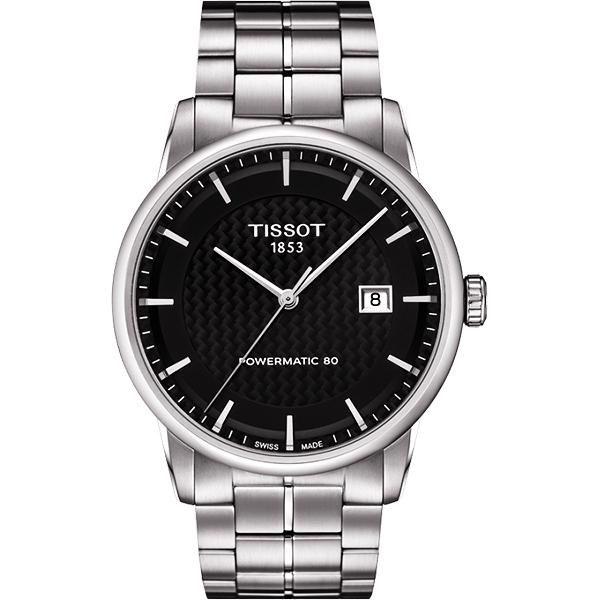 TISSOT 天梭 LUXURY 動力儲存80機械手錶-黑x銀/41mm T0864071120102